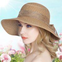 玖霖 遮阳帽防晒草帽女夏天季韩版飘带度假休闲沙滩大檐帽太阳凉帽