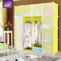 蓝鹦 成人简易衣柜塑料布艺单人组装折叠衣橱组合收纳柜简约 多款可选