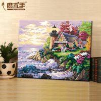 魔术手 diy数字油画人物动漫情侣抽象客厅风景花卉欧式大幅手绘画 40*50cm 多风格可选
