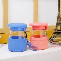 德明 创意玻璃杯便携可爱学生水杯女随手杯防烫企鹅杯带提绳茶杯子