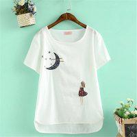 纯秋羊 新款夏季女装刺绣纯色女士短袖t恤大码打底衫半袖体恤棉