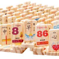 MWZ木丸子 MWZ-0090 木制积木100粒汉字多米诺骨牌儿童玩具1-6周岁宝宝识字