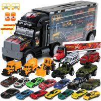 育儿宝 P8488A-2 货柜卡车儿童玩具合金汽车集装箱模型 男孩生日礼物