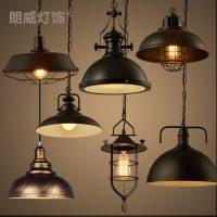 美式复古工业风咖啡厅餐厅酒吧吧台loft创意个性单头铁艺锅盖吊灯