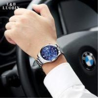 LUOBIN罗宾 3189 男士手表运动石英表 防水时尚潮流夜光钢带男表腕表