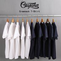 Geyuna歌羽娜 日本重磅纯棉纯色宽松圆领短袖打底衫T恤白色男女粉体恤潮