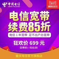 重庆电信100M包月改包年单宽带85折宽带家庭宽带新装续费 1年服务费