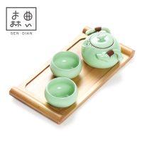 森典 汝窑快客杯旅行茶具套装 一壶二杯便携托盘家用陶瓷功夫茶壶茶杯