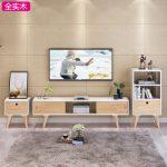 香克斯 北欧实木电视柜简约茶几组合日式现代卧室小户型电视机柜地柜