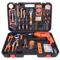 亚得力 手动组合家用工具套装五金组套电工木工维修工具箱电钻组合