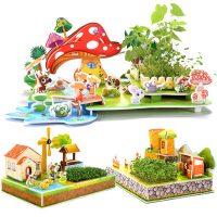 达拉 DA1021 3d立体拼图儿童亲子玩具拼插模型diy手工种植积木家园