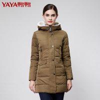 鸭鸭 正品秋冬款女装韩版修身毛领带帽中长款羽绒服B-328 3色可选