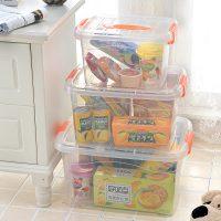 蜜蜜花 食品级透明收纳箱整理箱塑料盒子有盖大小号手提储物箱 小号 *2件