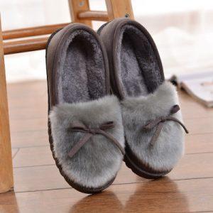 小甜瓜 2017冬季新款棉拖鞋女厚底鹿皮绒毛绒包跟保暖棉鞋月子鞋家居拖
