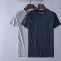 杜克恩 夏季纯棉修身体恤圆领纯色打底衫 男士短袖T恤 2件装