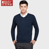 Hodo红豆 男士羊毛衫时尚V领纯色商务休闲纯羊毛毛衣男套头衫 多色可选