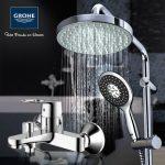 德国进口GROHE高仪 23355+27389001淋浴套装 花洒套装 挂墙式冷热水淋浴龙头明装喷头沐浴器