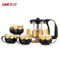 Lilac紫丁香 耐热玻璃茶壶不锈钢过滤茶具套装花草茶壶茶杯泡茶壶冲茶器 五件套
