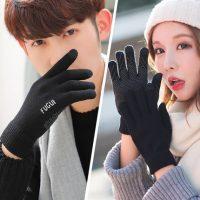 富柜 情侣触屏手套男女冬季针织毛线加绒保暖韩版学生骑行五指户外防滑