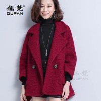 趣梵 小个子毛呢外套女短款冬装宽松斗篷茧型韩版羊毛呢子大衣秋冬外套 3色可选