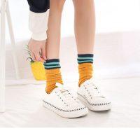 郁米家 堆堆袜子女韩国中筒袜秋冬潮韩版个性百搭学院风日系长袜棉袜 5双