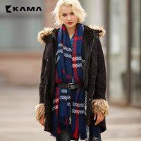 KAMA卡玛 冬装新款 女装带帽毛领中长款显瘦棉衣服 7415771 两色可选