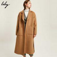 Lily丽丽 女装双面呢大衣oversize驼色毛呢外套2017新品117449F1968 两色可选
